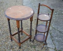 An oak occasional table to/w three-tier cake stand (2)