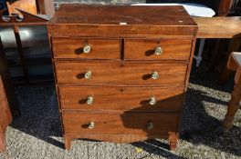 A Victorian mahogany chest of two short over three long drawers