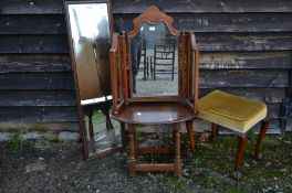 Two mirrors, mahogany stool and oak drop leaf table (4)
