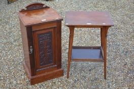 An Edwardian bedside cabinet to/w a two-tier occasional table (2)