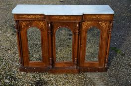 A Victorian marble topped and mirrored breakfront sideboard