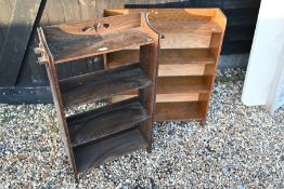 Two small oak open bookcases