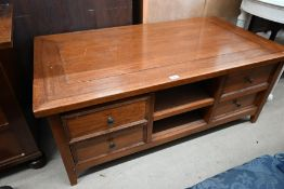 A modern hardwood rectangular coffee table