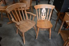 Five beech dining chairs