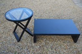 Two contemporary black laminate tables