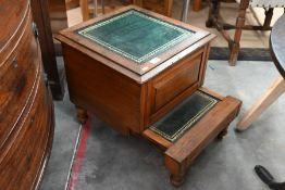 A Victorian oak bedside box commode