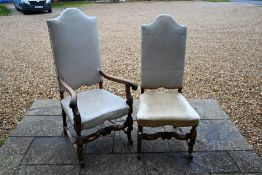 A set of six 17th century-style high-backed mahogany framed dining chairs
