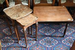 A nest of two walnut occasional tables and an Edwardian side table