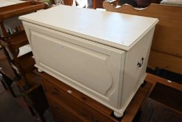 A pine cream painted blanket chest/coffer with brass side handles