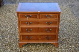 A reproduction yew wood crossbanded filing chest