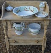 An antique pine two-tier wash stand