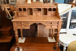 A stained pine desk