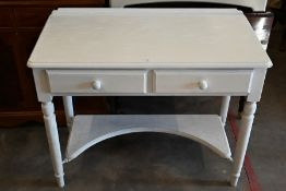 A pine cream painted two drawer hall table