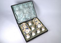 Cased set of six Coalport china coffee cups and saucers