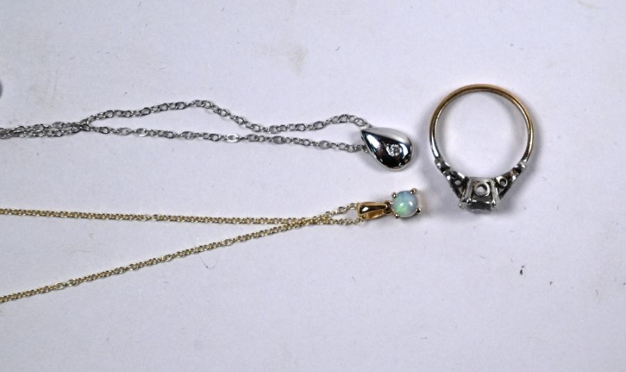 Two pendants on chains and a cz ring - Image 3 of 4