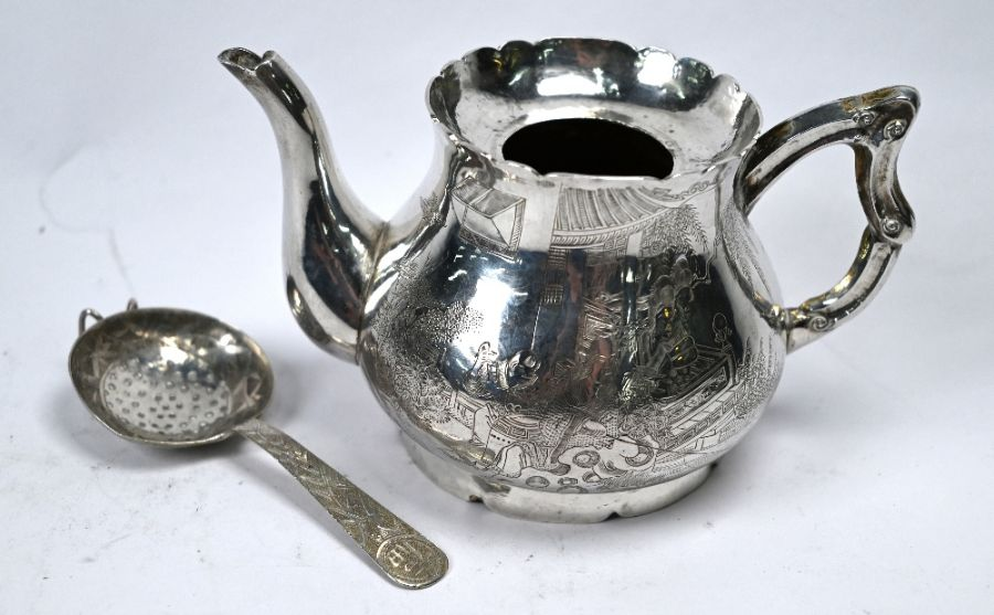 19th Century Chinese export silver tea pot & strainer