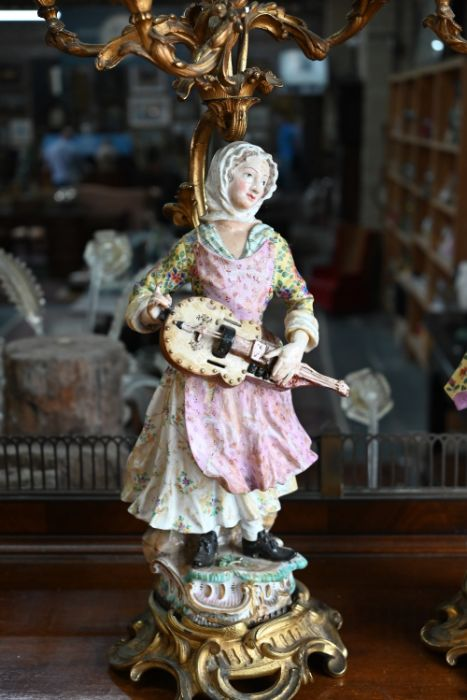 A companion pair of French ormolu mounted candelabra - Image 6 of 8