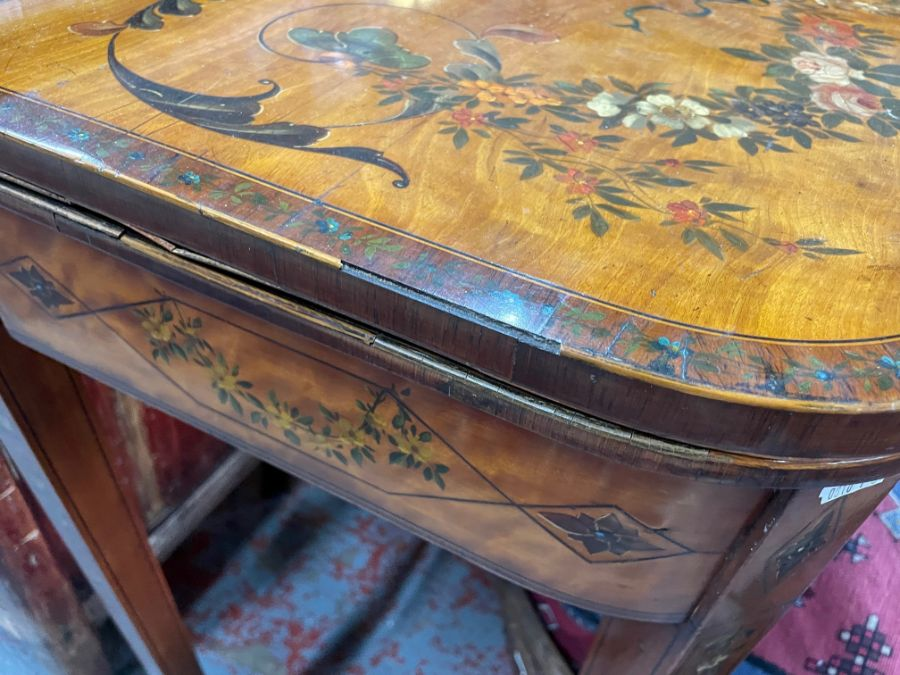 A 19th century polychrome decorated satinwood card table in the Sheraton style - Image 13 of 17