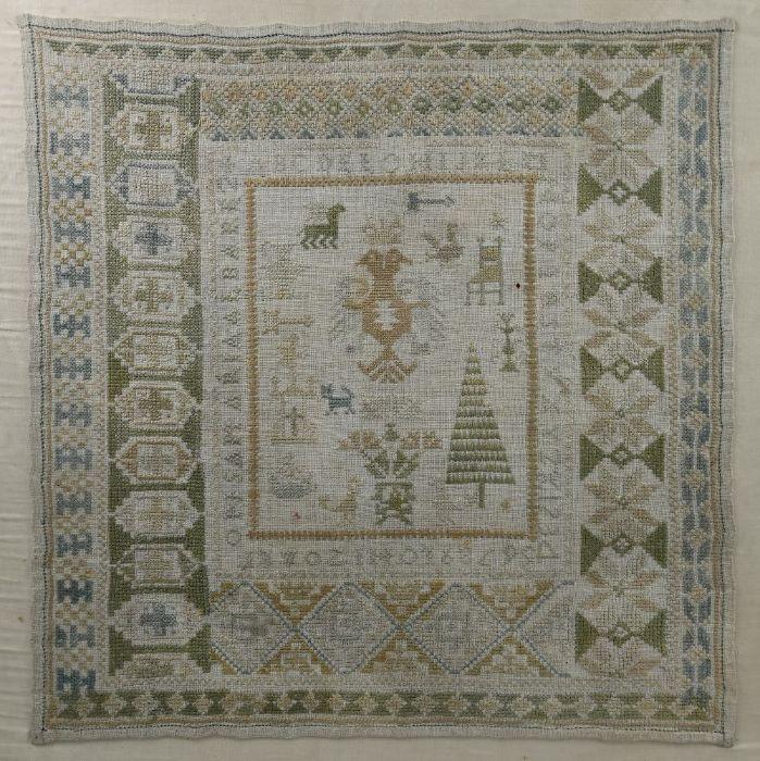 An antique Continental needlework sampler - Image 2 of 2