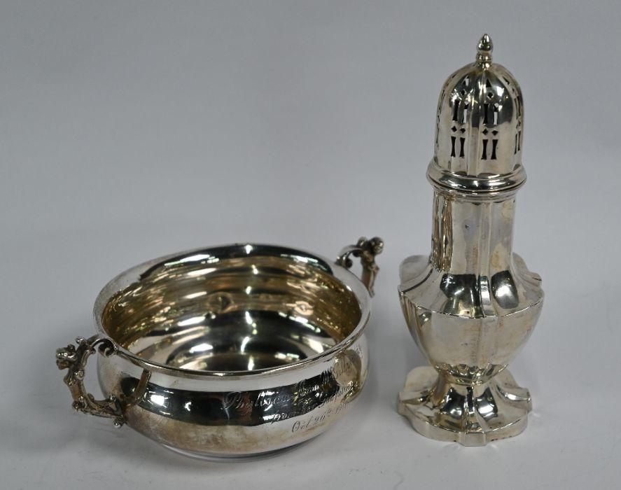 Silver porringer & sugar caster