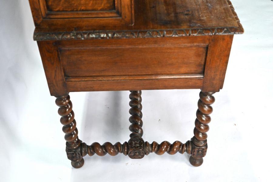 An antique Continental carved oak desk - Image 7 of 7