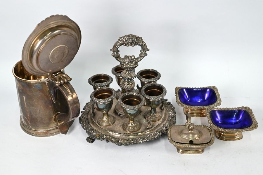 Plated on copper tankard inset with 1696 crown and other plated items - Image 3 of 4