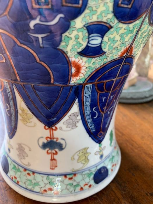 A Chinese wucai baluster vase, late Qing, 41 cm high - Image 10 of 12