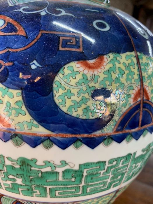 A Chinese wucai baluster vase, late Qing, 41 cm high - Image 6 of 12