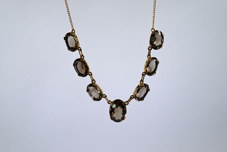 An Edwardian smokey quartz fringe necklace - Image 3 of 4