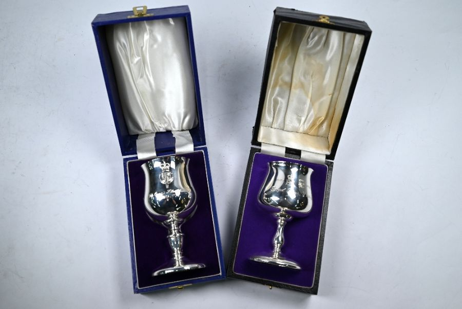 Two Royal commemorative silver goblets