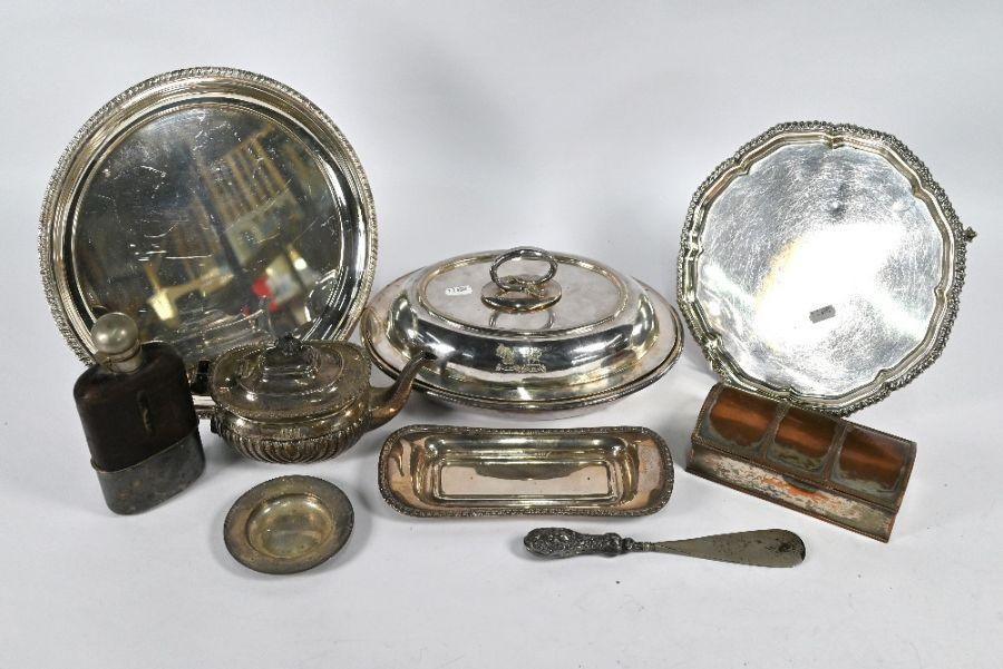 Silver teapot, etc.