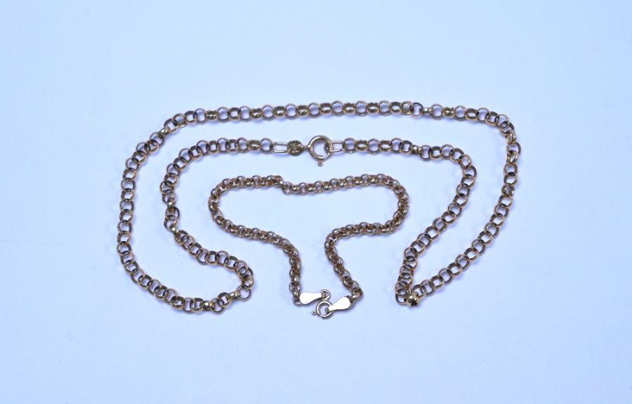 A 9ct rose gold belcher chain