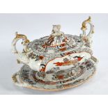 Early 19th century Mason's Ironstone oval soup tureen, cover and stand