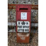 An Edwardian cast iron Post Office wall-box front, with enamel plates