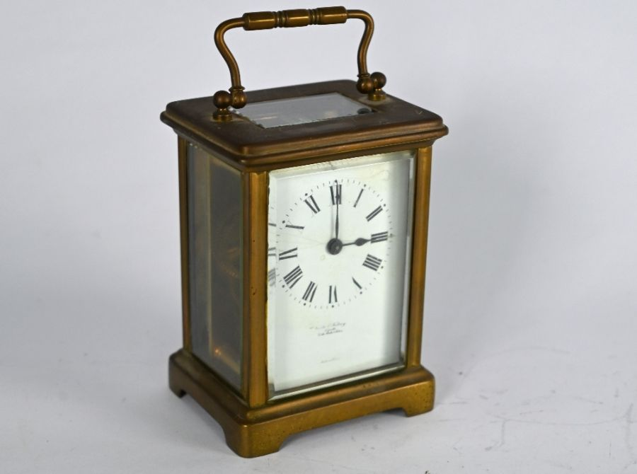 Clarke & Keley, Calcutta, a French brass cased single train carriage clock