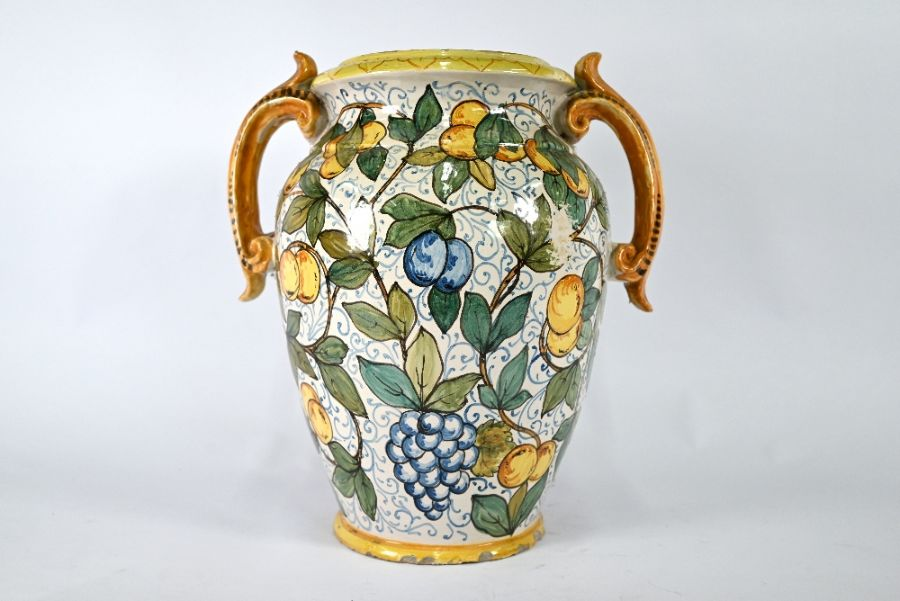 A large majolica decorative vase with twin scroll handles - Image 2 of 4