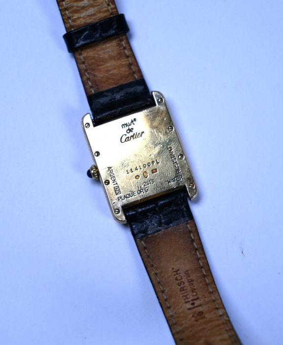 Silver gilt Must de Cartier 'Tank' wristwatch - Image 3 of 3