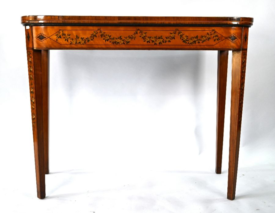 A 19th century polychrome decorated satinwood card table in the Sheraton style - Image 4 of 17