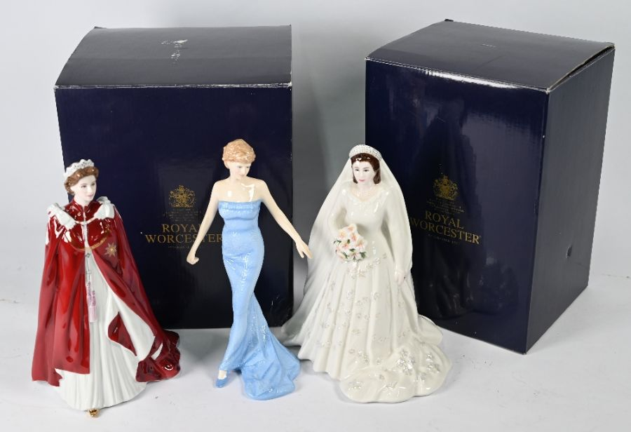 Two Royal Worcester figures HM Queen Elizabeth and Royal Doulton Diana figure