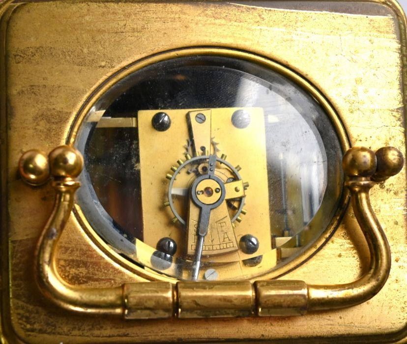 An antique brass two train 8-day carriage clock - Image 5 of 5
