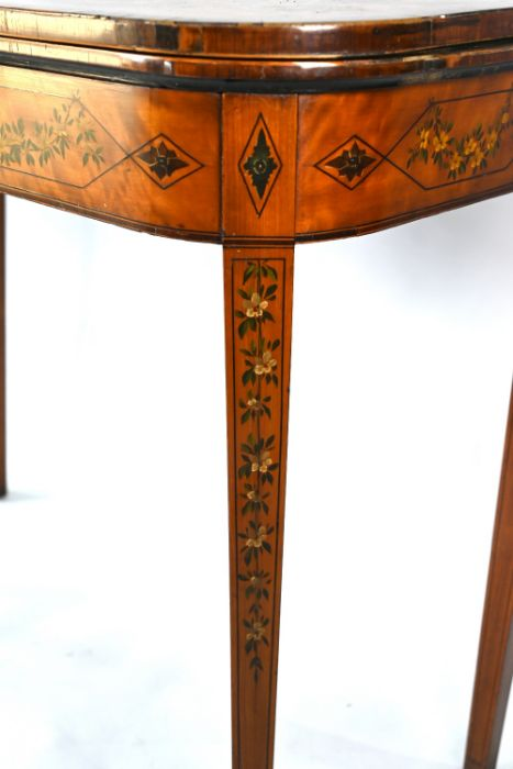 A 19th century polychrome decorated satinwood card table in the Sheraton style - Image 2 of 17