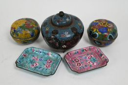 A group of five Chinese cloisonné and enamel items