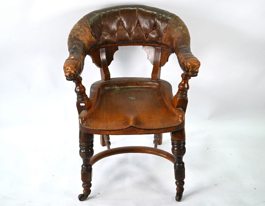 A Victorian mahogany chair with buttoned brown leather yoke back - Image 2 of 4