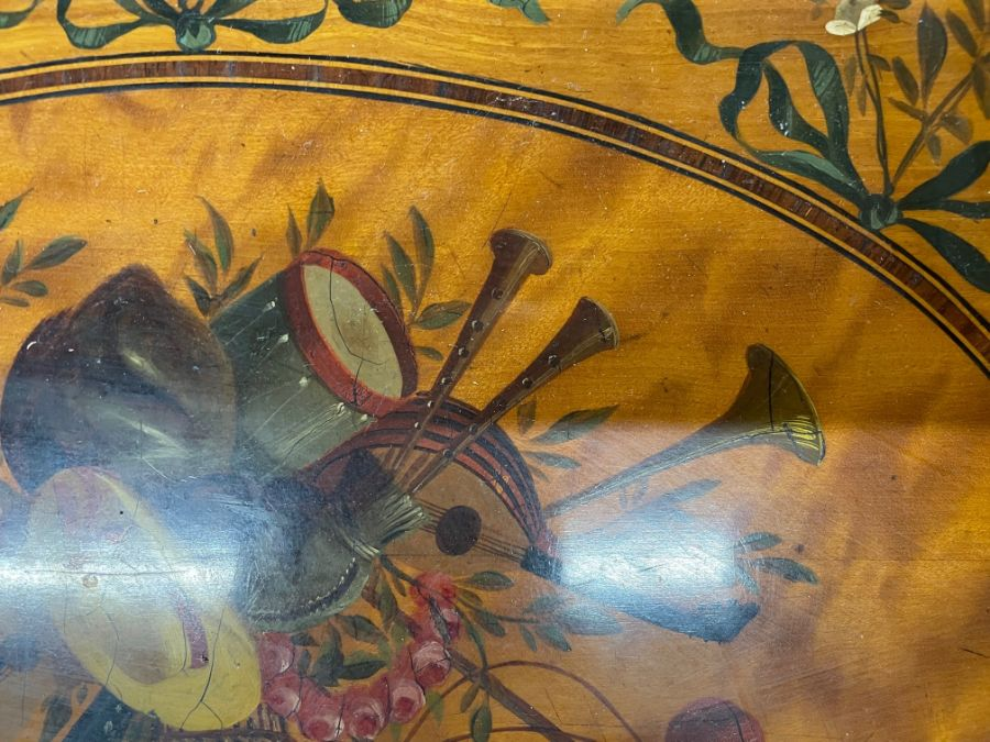 A 19th century polychrome decorated satinwood card table in the Sheraton style - Image 17 of 17