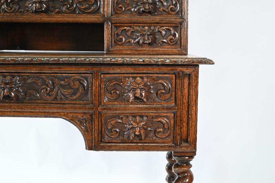 An antique Continental carved oak desk - Image 2 of 7