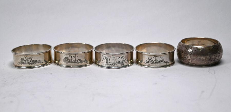 Silver napkin rings, etc. - Image 4 of 4