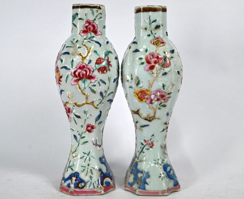 A pair of Chinese Yongzheng/Qianlong period famille rose vases - Image 4 of 5