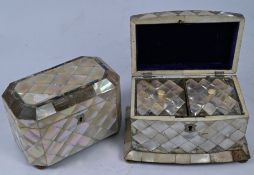 A 19th century mother of pearl tea caddy