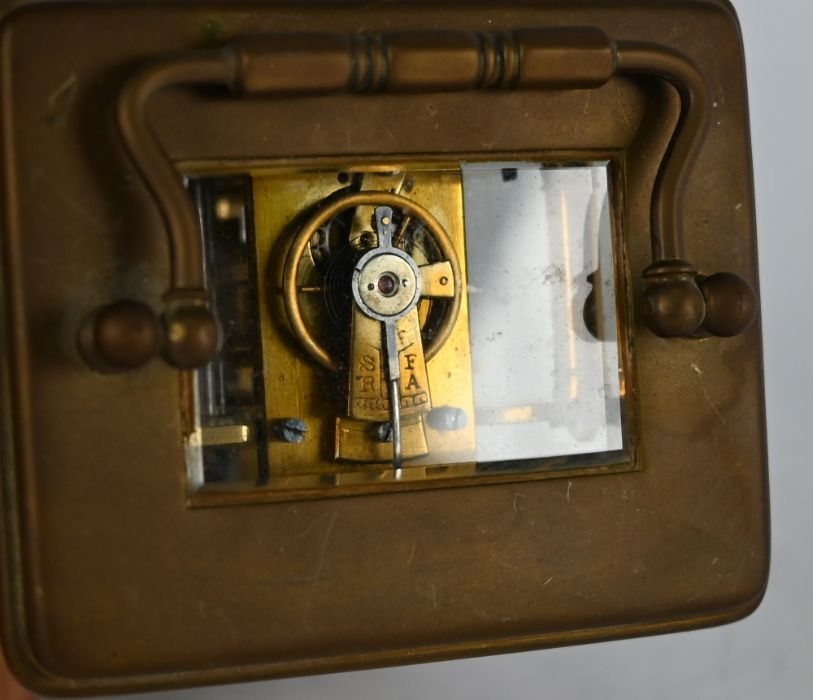 Clarke & Keley, Calcutta, a French brass cased single train carriage clock - Image 5 of 5