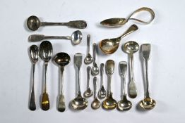 Georgian and later silver salt and mustard spoons, etc.